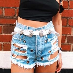 LF Carmar Destroyed Grommet Denim Shorts